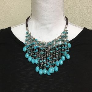 5/$25 Leather collar Turquoise Beaded Necklace